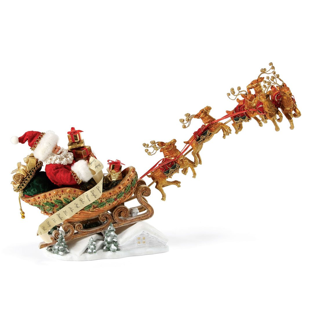 """Department 56 Possible Dreams Santa Claus """"Dash Away All"""" Clothtique Christmas Figurine by Department 56"""