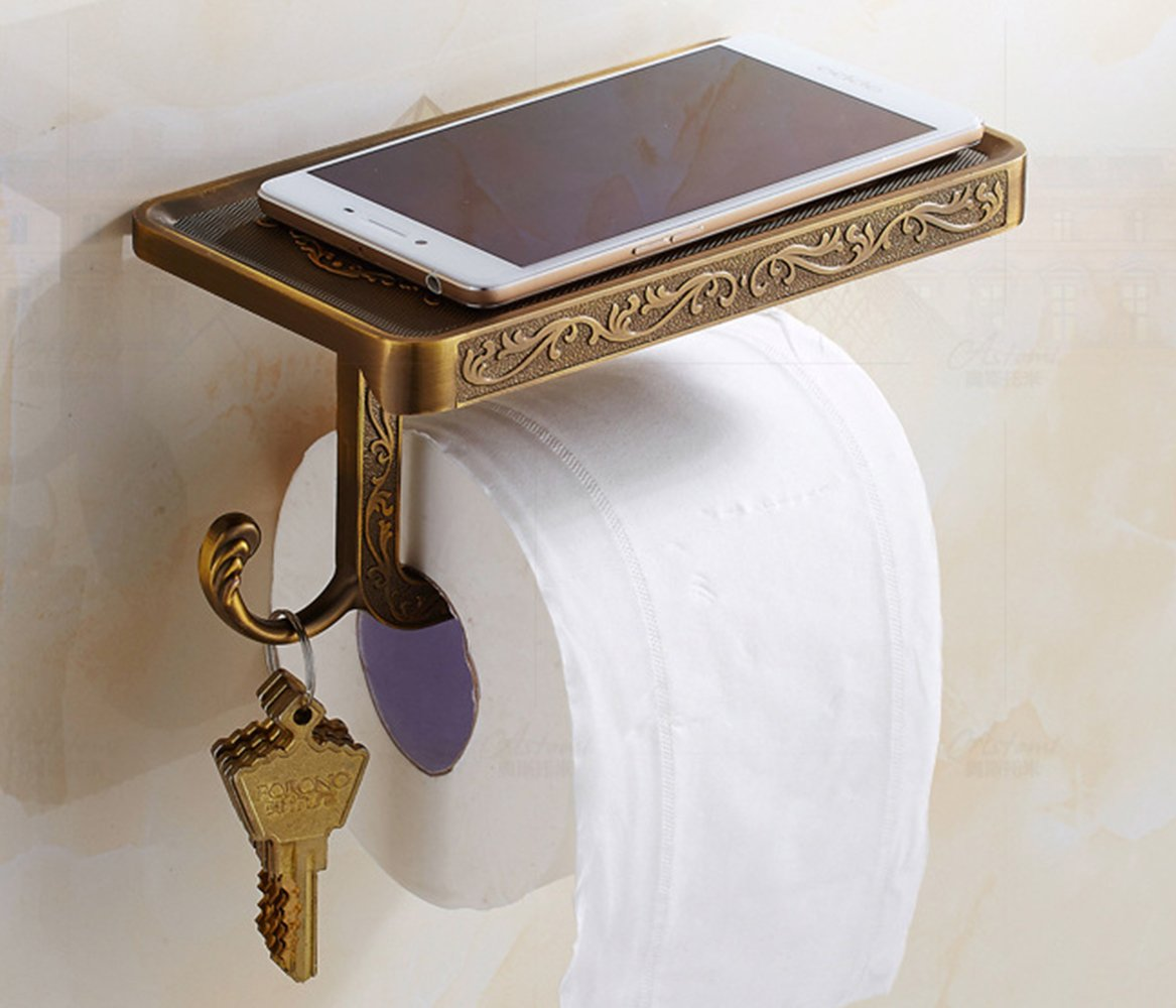 PERTTY Bronze Toilet Paper Holder Stand With Phone Shelf Wall Mounted Bathroom Paper Holder And Hook