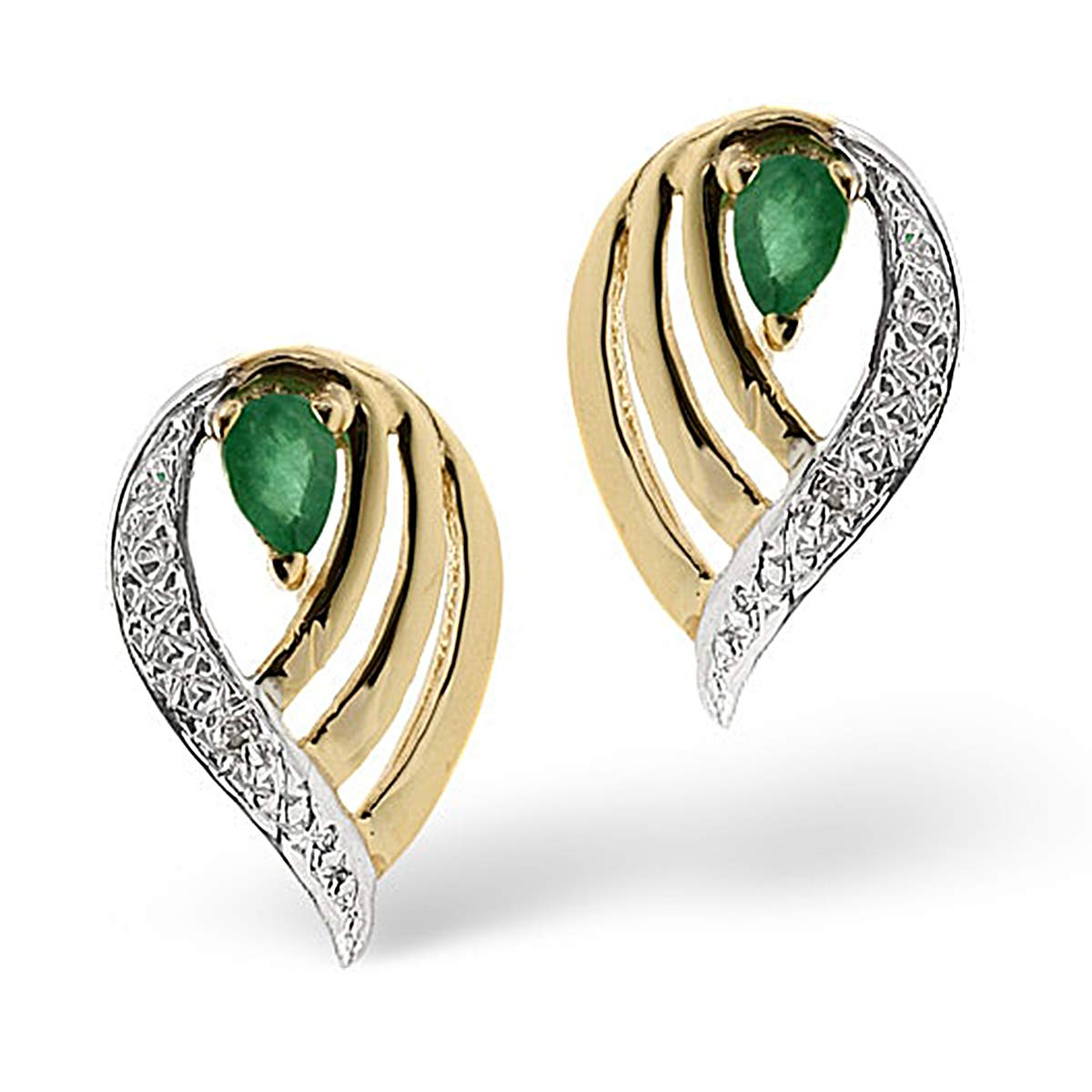 14k Real Two-Tone Gold 1.00 Ct Pear /& Round Cut Created Green Emerald /& Simulated Diamond Stud Earrings