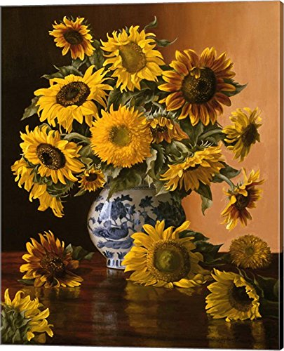Sunflowers in a Blue Willow Vase by Christopher Pierce Canvas Art