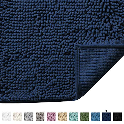 Plush Microfiber Bath Rugs Chenille Floor Mat Ultra Soft Washable Bathroom Dry Fast Water Absorbent Bedroom Area Rugs Kitchen Rugs Non Skid, 17 x 24 inches, Navy Rug (Mats Bath Reversible)