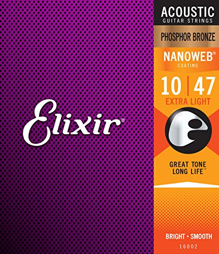 (Elixir Strings Phosphor Bronze Acoustic Guitar Strings w NANOWEB Coating, Extra Light (.010-.047))