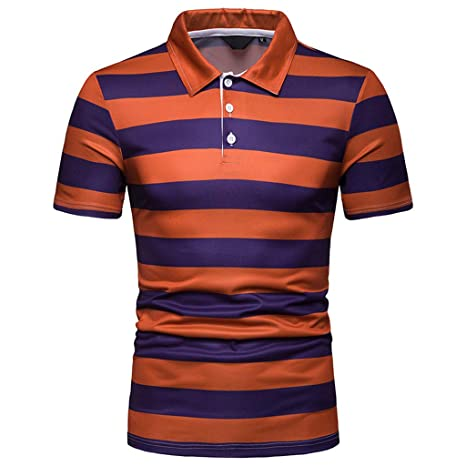 0072ac995c OOEOO Men's Fashion Short Sleeve Stripe Painting Large Size Casual Shirts  Teen Top Blouse