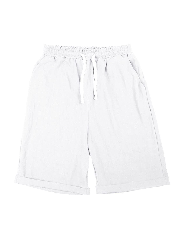 Sunm boutique Women's Casual Drawstring Elastic Waist Knee Length Curling Bermuda Shorts Beach Shorts
