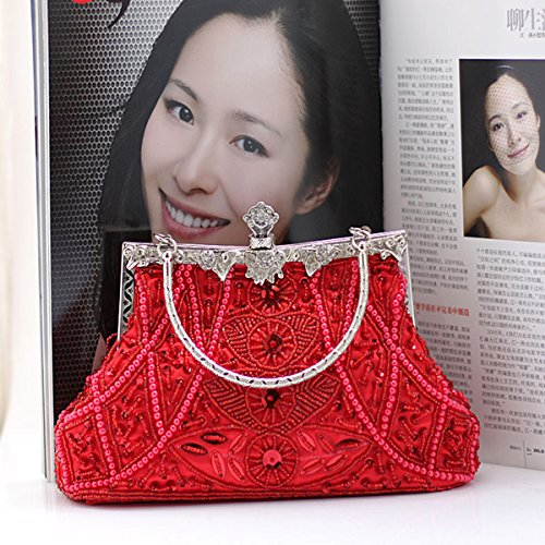 Women Evening Retro Red Bag Purse Clutch Wedding Beaded Pearl Party Sequinned ppx4PqF1