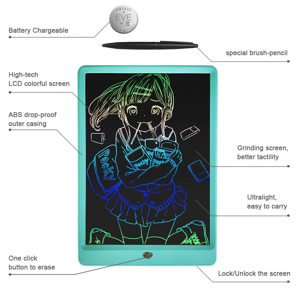 Drawing Tablet 10 Inches LCD Writing Tablet Colorful Screen, Doodle Board Electronic Doodle Pads Writing Board for Kids and Adults(Blue) by ZBHT (Image #4)