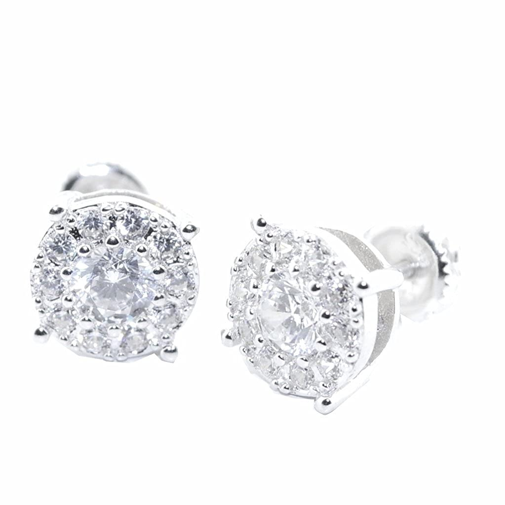 Stud Earrings Sterling Silver Round Stud Earrings CZ Screw Back 9.5MM