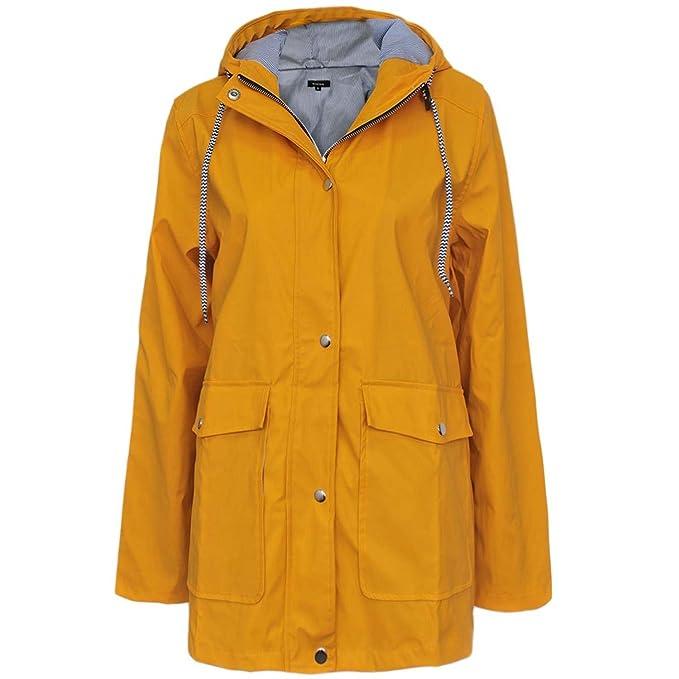 Supreme Fashions - Abrigo Impermeable - Chaqueta - Manga Larga - para Mujer Amarillo Amarillo 40