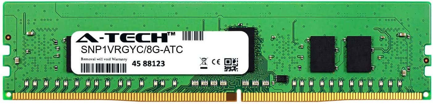 Single Server Memory Ram Stick DDR4 2666MHz PC4-21300 ECC Registered RDIMM 1rx8 1.2v A-Tech 8GB Replacement for Dell SNP1VRGYC//8G SNP1VRGYC//8G-ATC