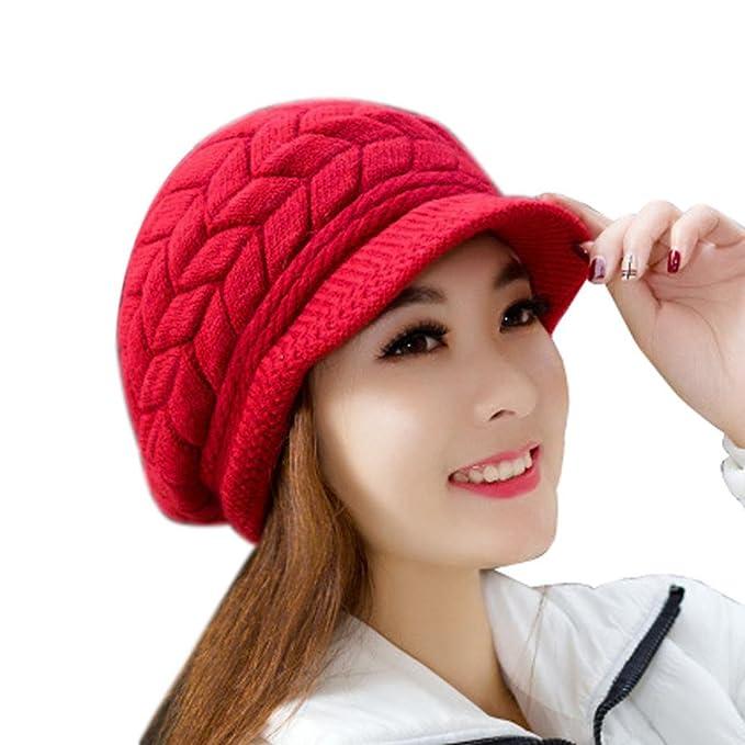 FEITONG Las mujeres sombrero de invierno skullies Gorros sombreros de punto  Casquillo de la piel del 4c1527f478f