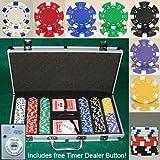 300 Casino Grade Striped Dice 11.5 gram Poker Chips w/ Free Timer Dealer Button. Premium Composite Clay Poker Chips, Includes Aluminum Case.
