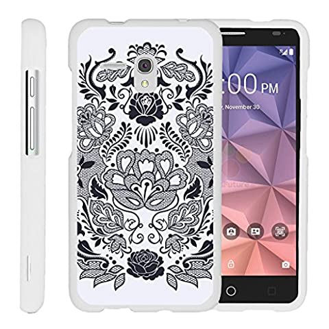 TurtleArmor | Alcatel One Touch Fierce XL Case | Alcatel Flint Case [Slim Duo] Slim Snap On 2 Piece Hard Cover Protector Case Girl Designs on White - Lotus (Alcatel Android 4g Fierce 2)