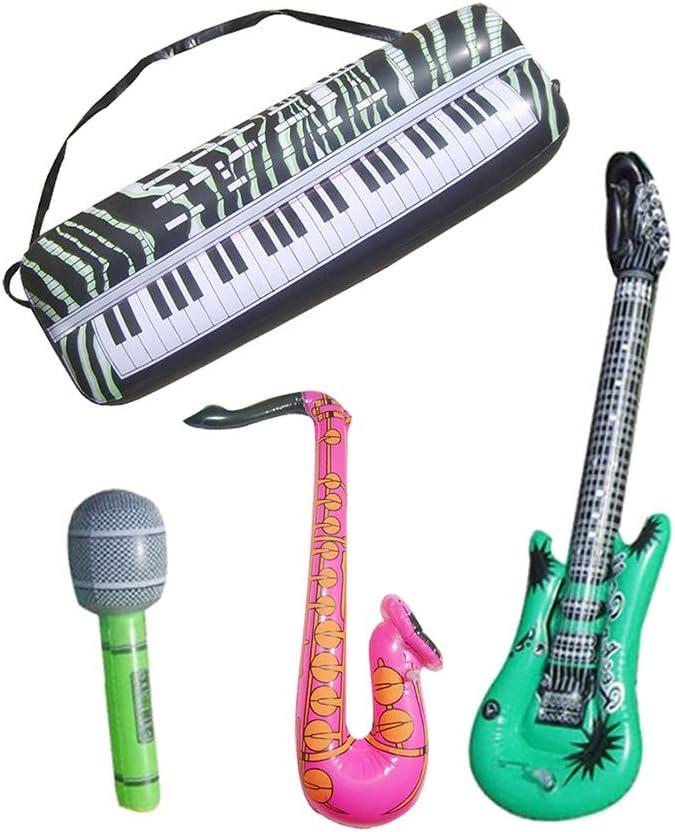 Toyvian 16 UNIDS Niños Inflables Instrumentos Musicales Set Rock Band Instrumentos Inflable Guitarra Micrófono Teclado de Juguete: Amazon.es: Juguetes y juegos