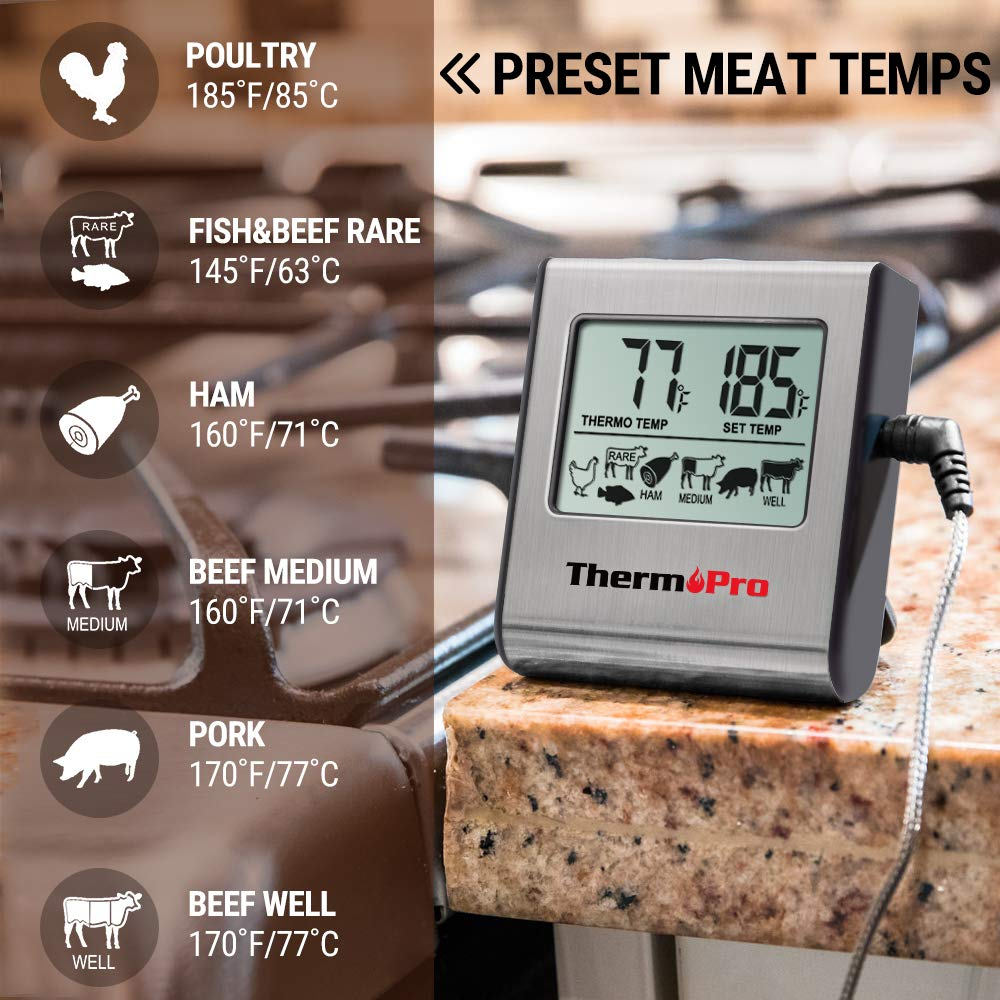 ThermoPro TP-16 Large LCD Digital Cooking Food Meat Thermometer for Smoker Oven Kitchen BBQ Grill Thermometer Clock Timer with Stainless Steel Temperature Probe by ThermoPro (Image #2)