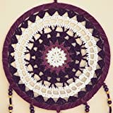 "Purple White Pink Dream Catcher by Bohemian Merchant Large Handmade Crochet Knit Lace 8.5"" Inch Diameter"