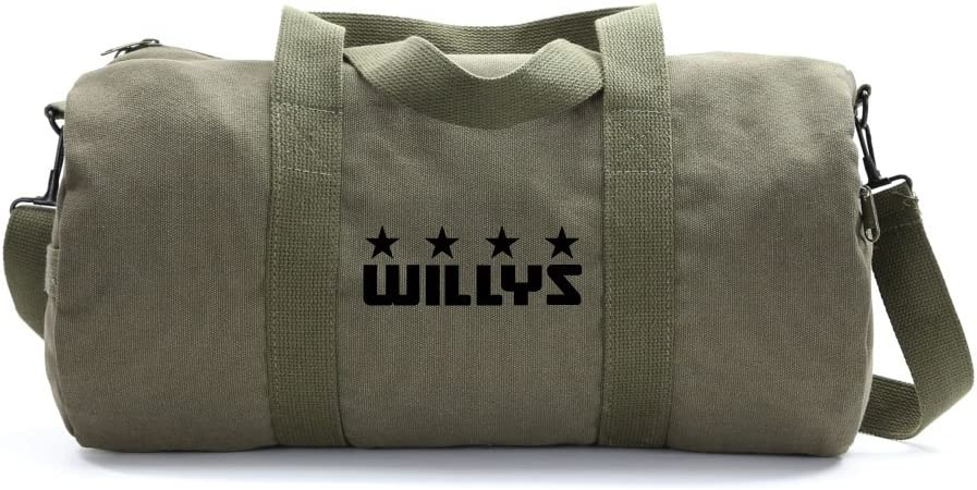 Willys Jeep Freedom Stars Military Army Sport Heavyweight Canvas Duffel Bag in Olive /& Black Medium