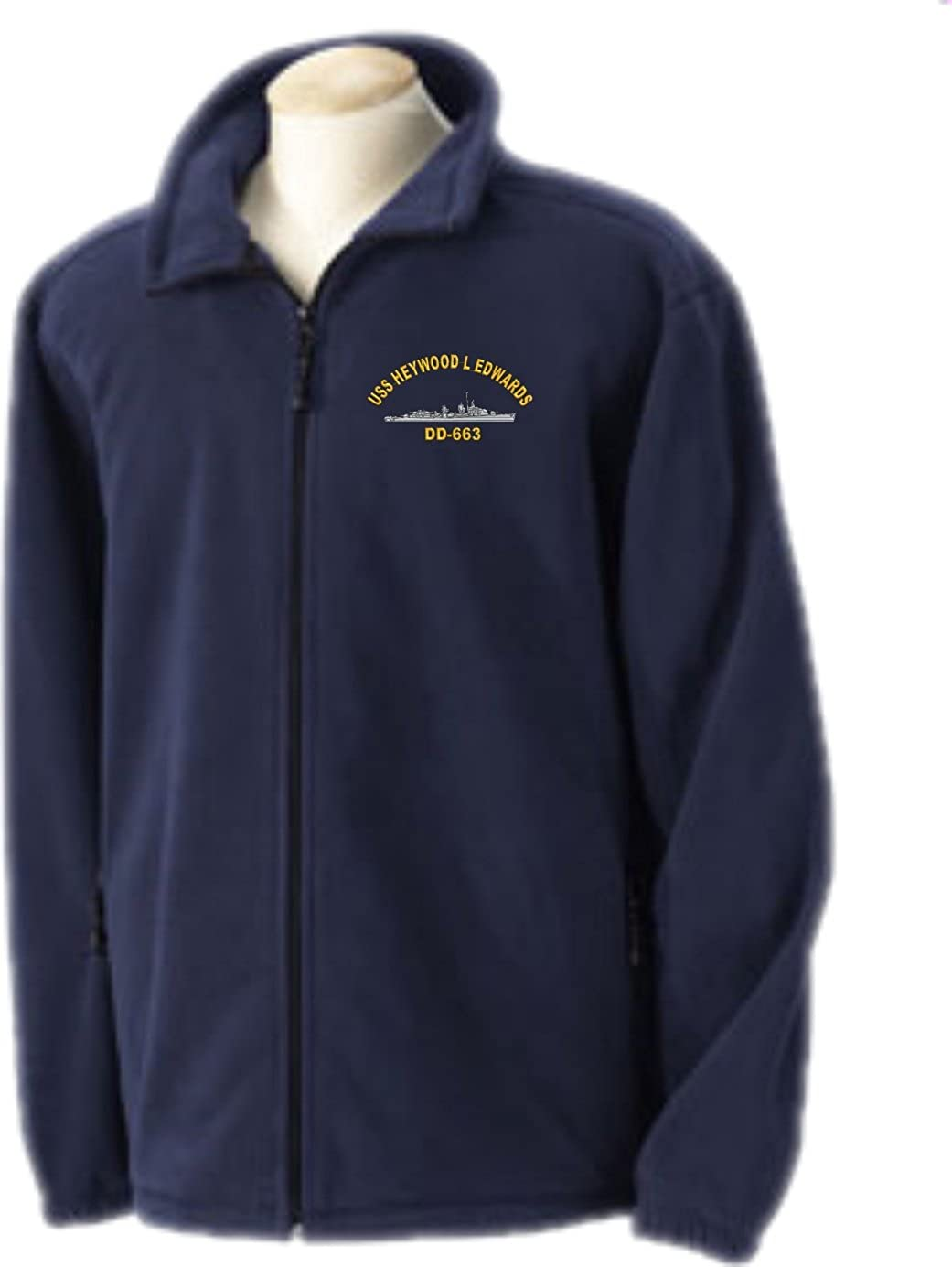 USS Heywood L Edwards DD-663 Embroidered Fleece Jacket Sizes Small-4X