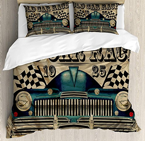 4 Piece Twin Size Duvet Cover Set,Cars Traditional Car Race Nostalgic American Car Flags Rusty Sand,Bedding Set Luxury Bedspread(Flat Sheet Quilt and 2 Pillow Cases for - Race Crib Bedding Set Car