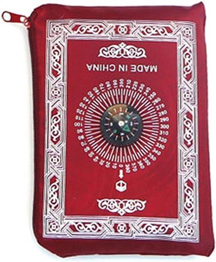 Jiay Portable Impermeable Musulman Tapis De Priere Tapis Avec Boussole Vintage Modele Islamique Eid Decoration Cadeau Poche Taille Sac A Glissiere Style Amazon Fr Cuisine Maison