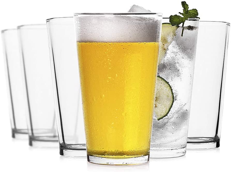 LUXU Classic Beer Pint Glasses(16 oz),Premium Pub Beer Glasses with Thick Base,Versatile Cocktail Shaker Beer Glass,Clear Glass Bar Tumblers Cocktail Mixing Glass for Cold Beverages, Soda, Water(6Pcs)