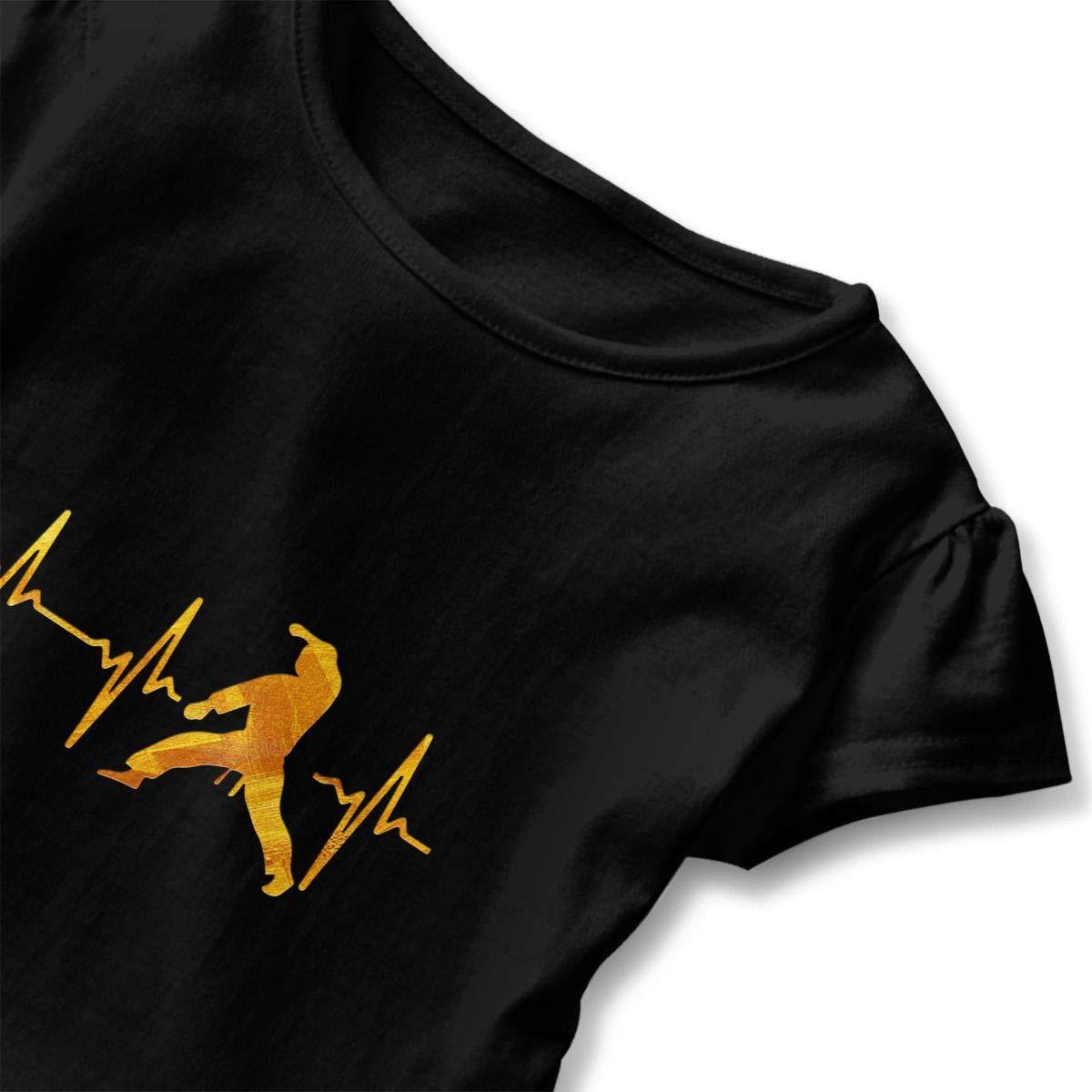 My Heart Beat for Martial Arts Toddler Girls T Shirt Kids Cotton Short Sleeve Ruffle Tee