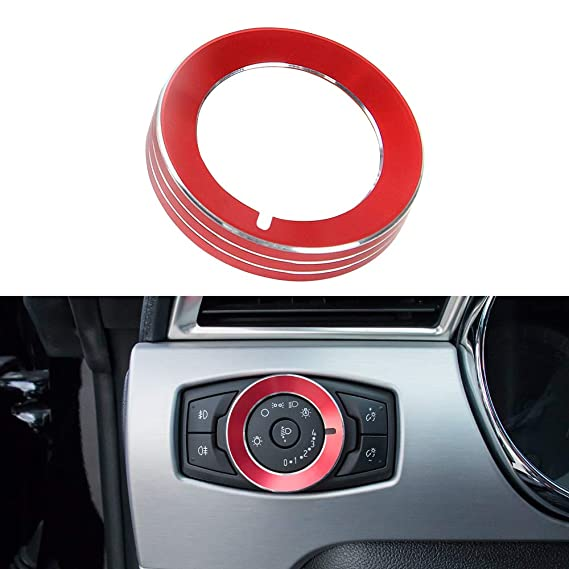 X AUTOHAUX Car Headlight Switch Knob Ring Trim Cover for Ford Mustang Black
