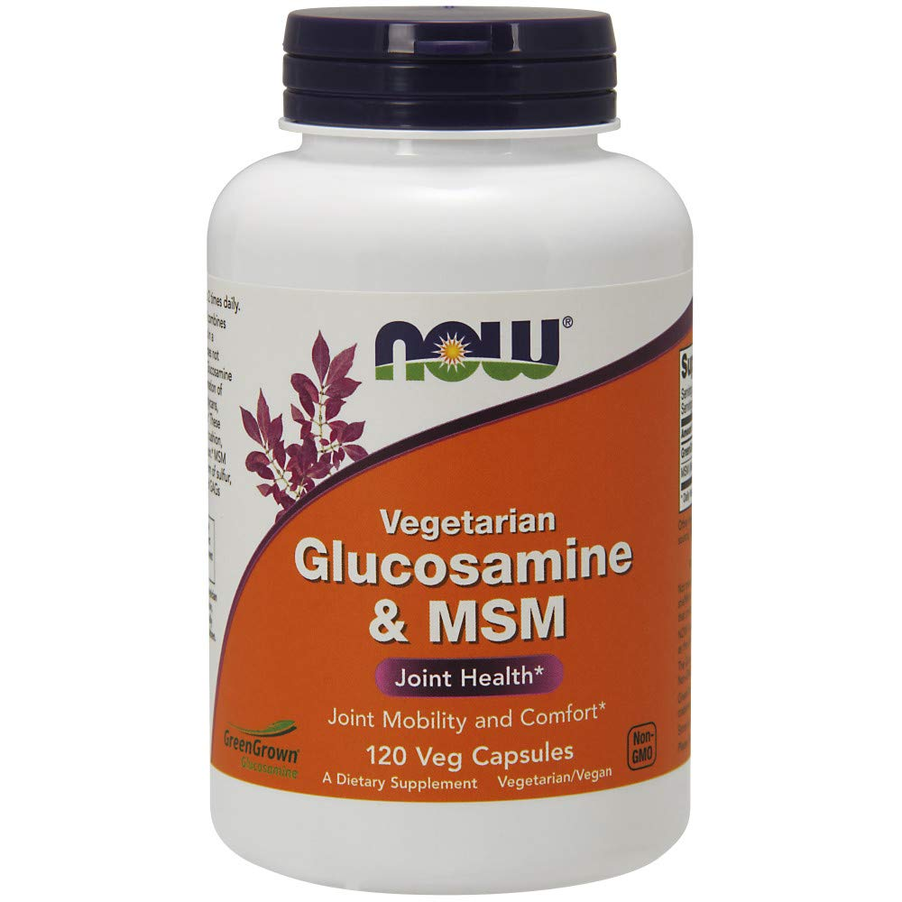 NOW Supplements, Glucosamine & MSM (Not Shellfish Derived), Vegetarian , 120 Veg Capsules by NOW Foods