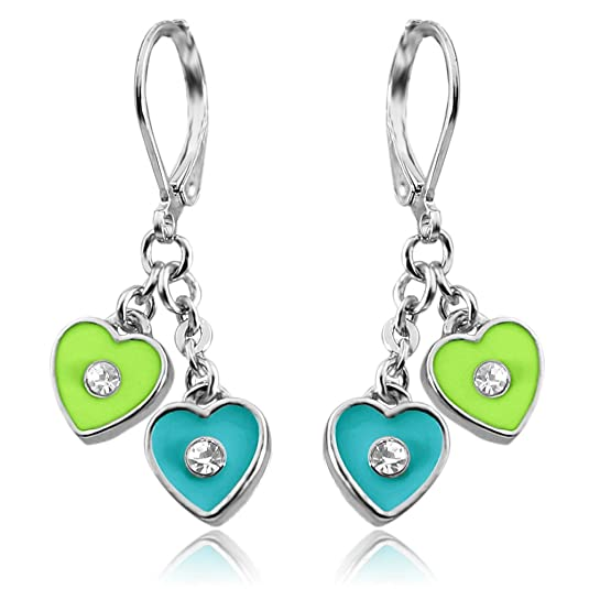Girls Earrings Enamel and Crystal Double Dangle Hearts Rhodium Plated Lever Back Fashion Jewelry for Girls