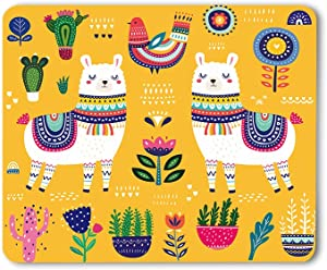Moslion Llama Mouse Pad Cartoon Alpaca Cute Animal Decorative Boho Ethnic Design Flowers Summer Gaming Mouse Mat Non-Slip Rubber Base Thick Mousepad for Laptop Computer PC 9.5x7.9 Inch