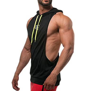 bc43a678a870d Men Pullover Bodybuilding Hoodie Fitness Stringer Workout Sweatshirt Gym  Sport Pollover Tops (Black