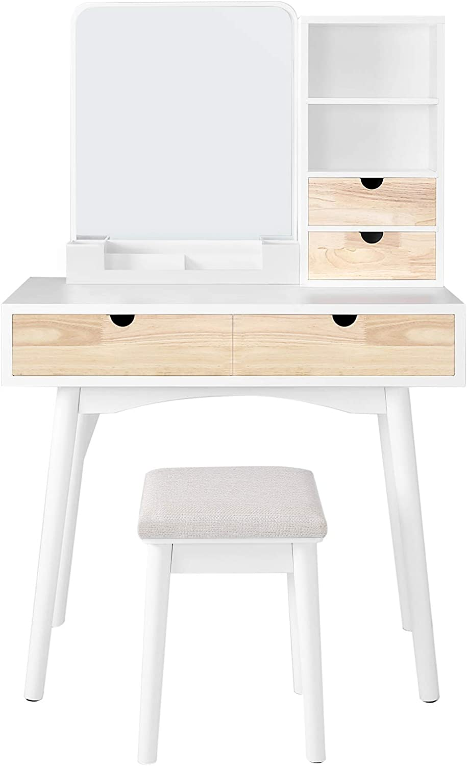 VASAGLE, Multifunctional Computer Armoires Hutches Vanity Set Makeup Dressing Table with Mirror, Cushioned Stool, for Bedroom, 35.4 x 15.7 x 57.5 Inches, White and Natural
