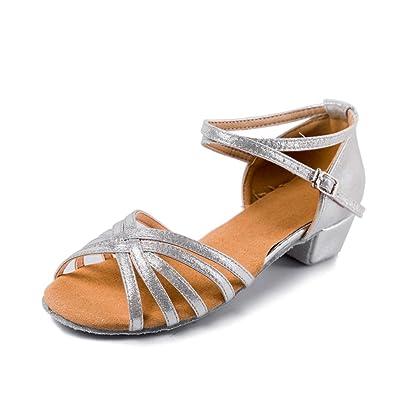 0407cb65a HIPPOSEUS Girls Glittering Latin Salsa Dance Shoes Soft Suede  Sole(Little/Big Kid)