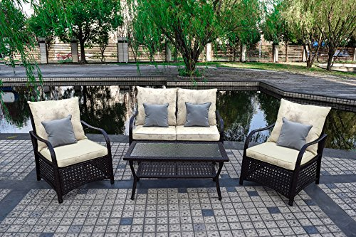 Sol Siesta Outdoor Furniture, Clubhouse Collection, 4 Piece Conversation Set, Patio Resin Wicker, Leaves - Functional - ideal for patio, porch, Poolside or garden. Removable cushion covers for easy cleaning Comfortable - marine canvas cushions with poly fill provide a soft yet supportive seat. Backrest is designed at a relaxing ergonomic angle Durable - hand welded Steel Tubing frame. Virgin resin wicker won't splinter or rot in extreme temperatures. UV, stain & mildew resistant marine canvas cushions - patio-furniture, patio, conversation-sets - 61c8WJBoQWL -