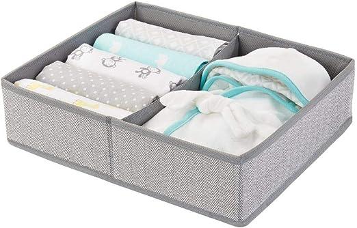 Color: gris mDesign Organizador para beb/és Precioso organizador de juguetes y articulos de beb/és etc toallitas Caja organizadora con cuatro compartimentos para pa/ñales Juego de 2