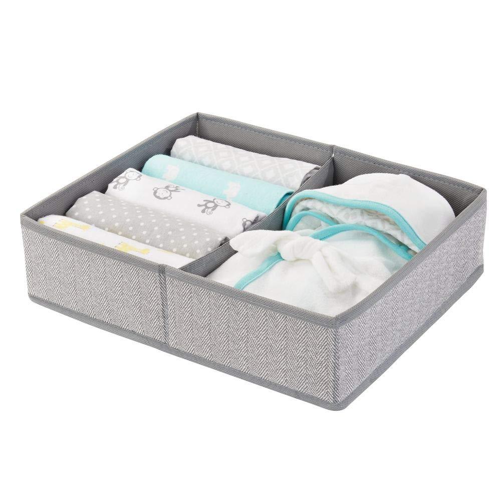 mDesign Juego de 2 cestas organizadoras con Dos Compartimentos Organizador para beb/és Grande para Guardar pa/ñales etc Accesorios toallitas Ideal como Organizador de Juguetes Gris