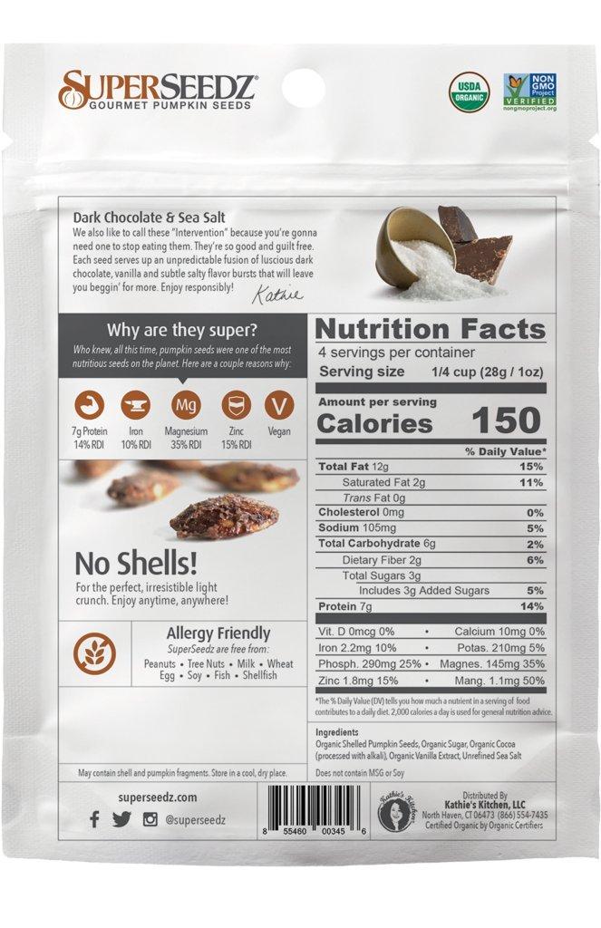 SuperSeedz Dark Chocolate & Sea Salt Gourmet Pumpkin Seeds Organic 4 Oz Bag (Pack of 6)