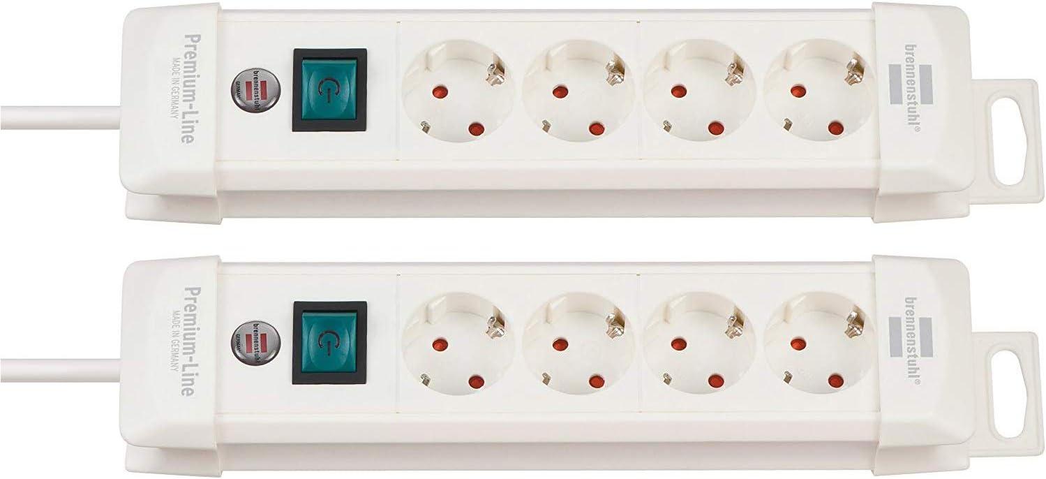 Farbe: lichtgrau//schwarz 4-Fach, 2 St/ück Brennenstuhl Premium-Line Steckerleiste mit Schalter und 1,8m Kabel - 45/° Anordnung der Steckdosen Steckdosenleiste 4-Fach