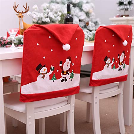 rosemaryrose 2 Pezzi Custodia per Sedia di Natale,Coprisedie con Schienale,Babbo Natale Coprisedie Decorazioni Natalizie,Coprisedie Sala da Pranzo