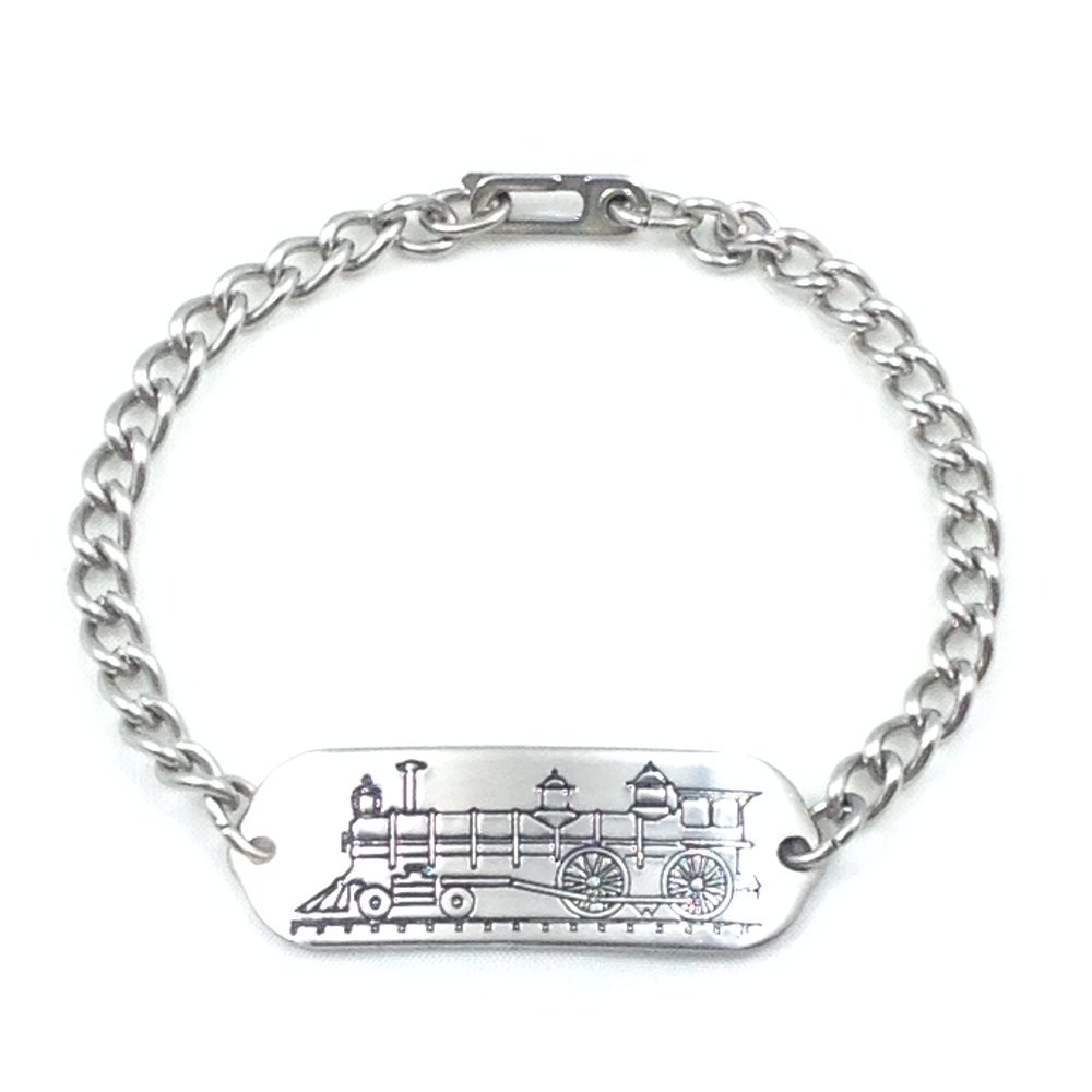 MakeMeThis Locomotive ID Bracelet IDB-05 - Stainless Steel - Non Allergenic - Adult, Youth & Child Sizes by MakeMeThis
