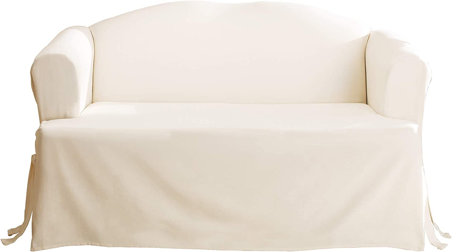 Surefit Home Décor Duck Solid T-Cushion Sofa One Piece Slipcover, Relaxed Fit, 100% Cotton, Machine Washable, Natural Color