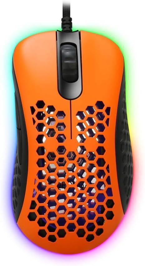 EQEOVGA D10 RGB - Ratón celular con luz para gaming, PAW3360 12000 DPI, sensor óptico, cable ultraligero y ultratrenzado con carcasa ligera de panal (65 g), color naranja y negro