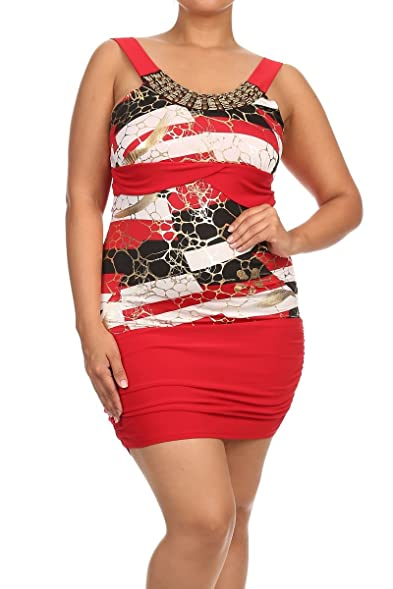 Studded Bodycon Dress Red Plus Size At Amazon Womens Clothing