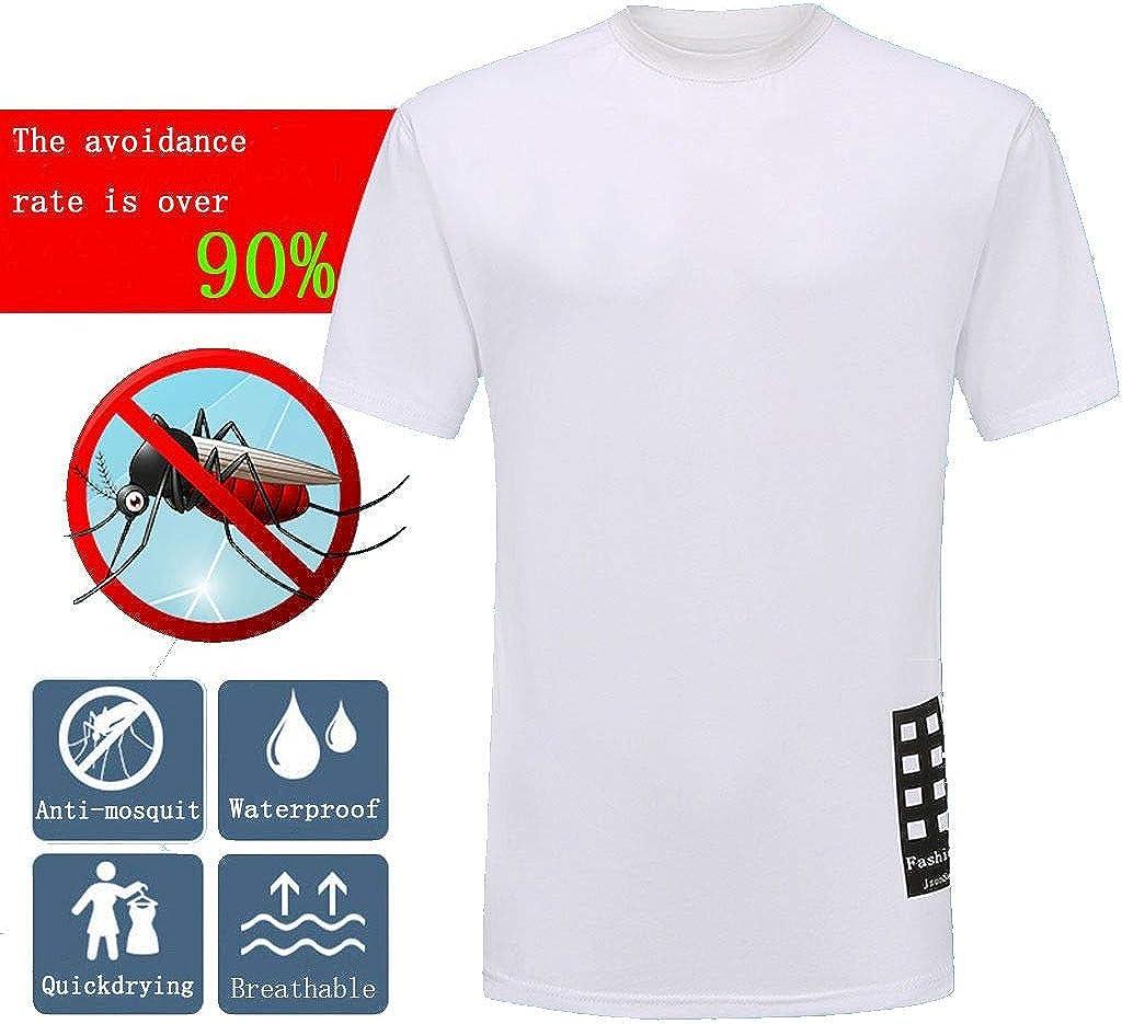 Camiseta para Hombre a Prueba de Manchas, Secado rápido, Transpirable, Manga Corta, antimosquitos, Resistente al Agua - Blanco - Large: Amazon.es: Ropa y accesorios