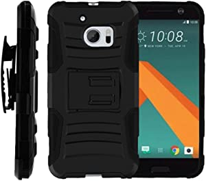 TurtleArmor | Compatible with HTC 10 Case | One M10 Case | HTC 10 Lifestyle [Hyper Shock] Rugged Combo Holster Belt Clip Hybrid Camo Case Silicone with Kickstand - Black