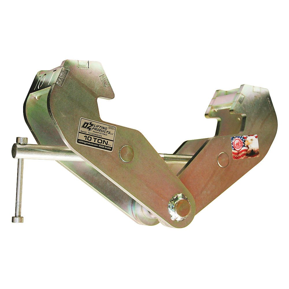 "OZ Lifting OZ10BCA Domestic Beam Clamp Fits Beam Flange Range 3""-9"", 10 Ton Cap."