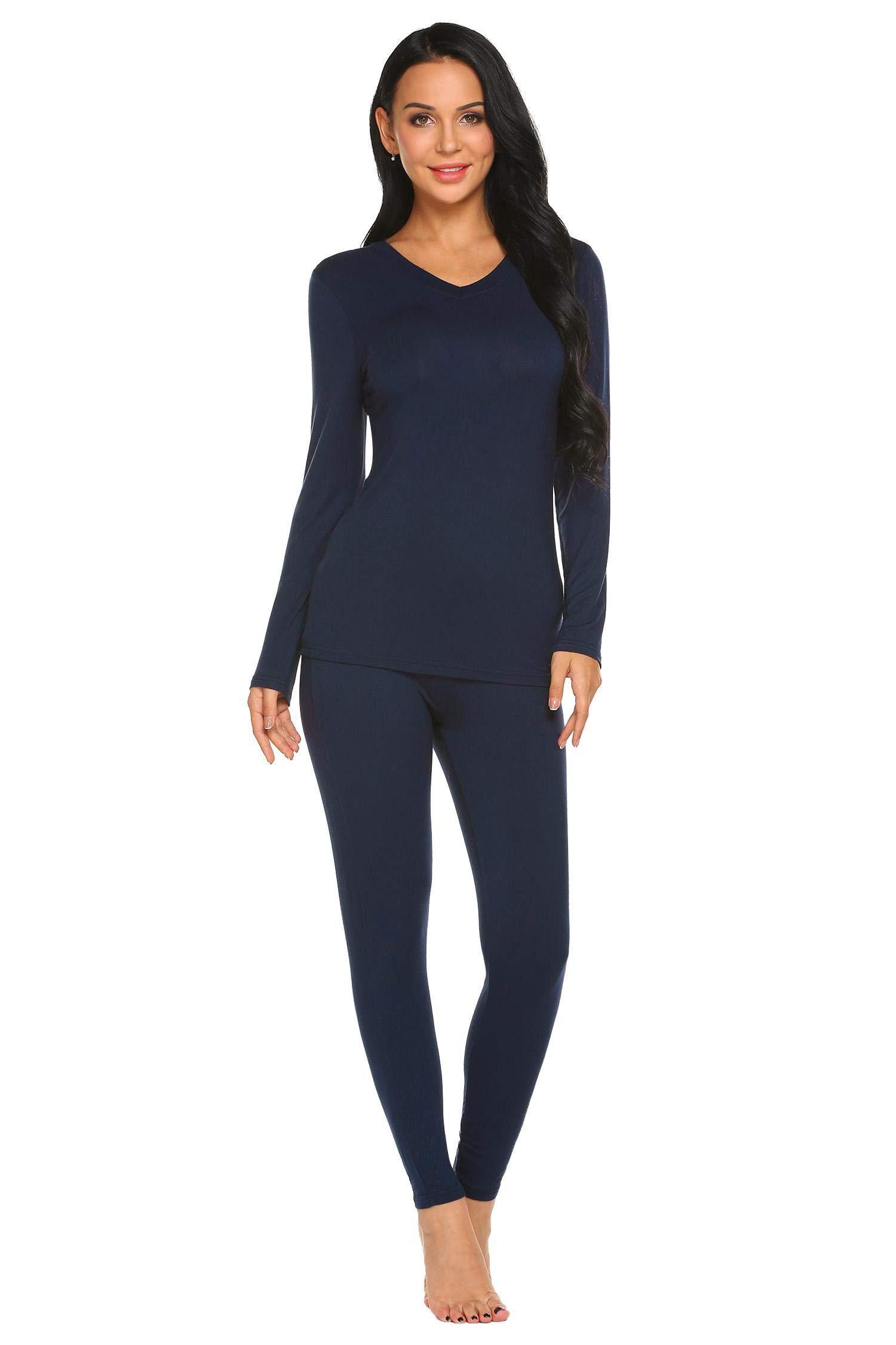 Ekouaer Womens Thermal Underwear Top & Bottom Set with Fleece Lined