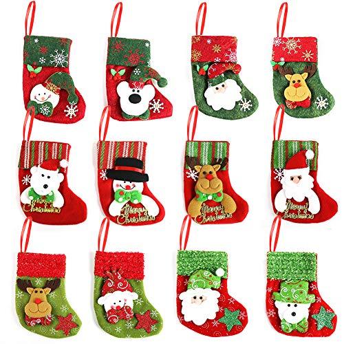 Angela&Alex Christmas Mini Hanging Stockings, 12PCS Cute Xmas