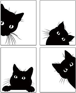 Modern Watercolor Cat Black and White Minimalist Art Prints Set of 4 (8