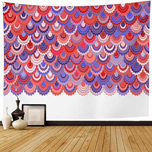 - Ahawoso Tapestry 80 x 60 Inches Patriotic Blue Colors Holiday American Ribbons Bunting Festive Pink Badge Border Curve Geometric Home Decor Wall Hanging Print for Living Room Bedroom Dorm