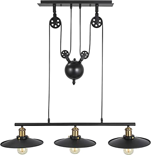 Happybuy Pendant Light 18 inches Dia x 34.4 inches H Vintage Industrial Hanging Pulley Pendant Lights 39 inches Adjustable Cable Retractable Ceiling Lamps